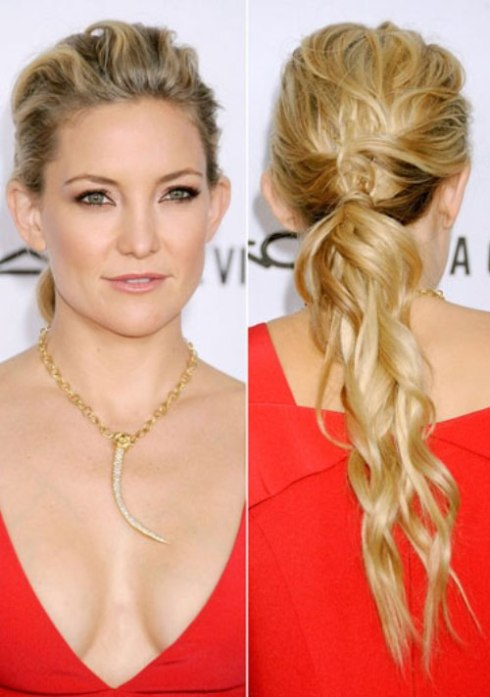 Kate Hudson's Beach Waves in A Ponytail