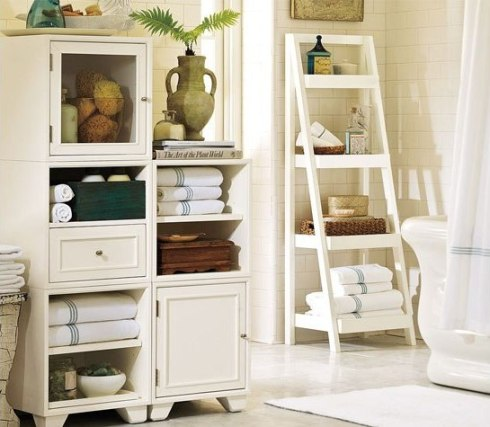 Bathroom decor ideas  Use ladder shelves for storage
