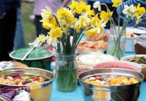 Potluck with recipes for bridal shower