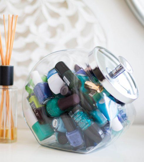 A Cookie Jar As A Nail Polish Storage
