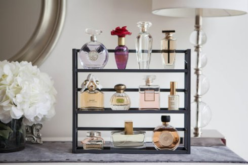 Spice Rack As A Shelf To Organize Your Perfume Bottles