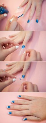 Apply the lighter shade first and seal it with a clear coat. let your nails dry completely. Now, place two tapes crossing each other, on the tip of your nail, apply the darker shade now all over, let it try for a minute and gently peel off the tape. There you have those lovely, two-toned nail paint.
