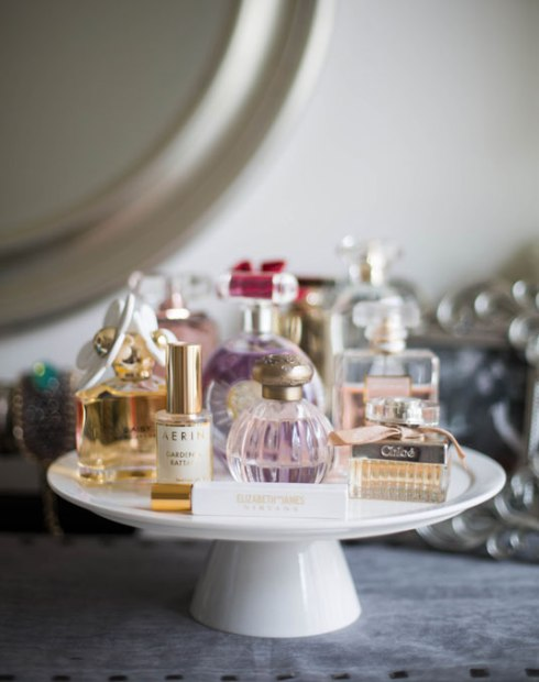 Utilize A Cake Stand To Display Those Pretty Perfume Bottles