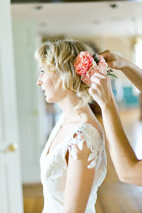 Wedding Photo-Adorning  Hair With Flowers